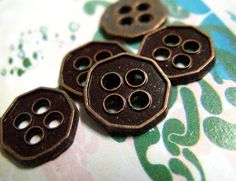 Heptagon Metal Buttons , Brown Copper Color , 4 Holes , 0.43 inch , 10 pcs by Lyanwood, $4.00