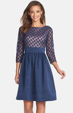 Eliza J Dot Mesh Bodice Fit & Flare Dress | Nordstrom