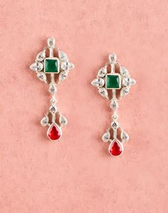Pure Silver Onyx & Ruby Stone Earrings.  Free Shipping Worldwide. Explore More Range!