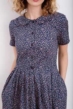 Floral Print Dress - Pleated Dress - Navy Blue Floral Women Dress - Flower Print Dress - Handmade by OFFON Vintage Outfits, Vintage Dresses, Vintage Fashion, Cute Dresses, Beautiful Dresses, Modest Fashion, Fashion Dresses, Dress Skirt, Dress Up