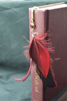 Red Feathered Bookmark by CarnivorousThings on Etsy