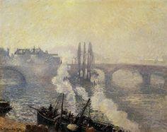 Вороний мост, Руан - утренний туман (1896). Камиль Писсарро