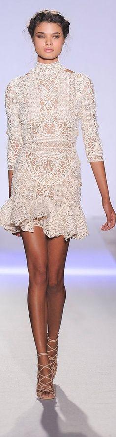Vintage crochet lace high neck wedding dress design idea // Zuhair Murad SS13 Couture (instagram: the_lane)