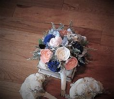 Wedding Bouquet, Sola wood Succulent Bouquet, Navy sola, Woodland Dried Bouquet, Bridal Bouquet, Sola flowers, Alternative Bouquet, Rustic Handmade  Woodland Style Collection- Details: This is a sample listing for a made-to-order bridal large hand picked style bouquet that includes light blue hydrangeas, sola wood cream/ivory, mums, , and flowers mixed with a few yellow billy buttons and green caspia, with some dried filler, and. I only used 5 colored flowers of pink coral, navy, and sof...