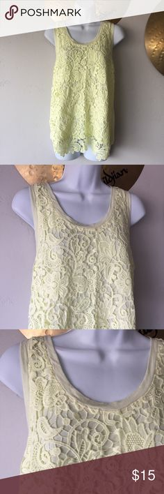 """J Crew Crochet Knit Tank Top Green Medium Womens size Medium , in great preowned condition.   Armpit to armpit- 20""""  Length - Front 28"""", back 25""""  Pretty pastel chartreuse green color  Crochet-front tank top  PRODUCT DETAILS  Modal® rayon/nylon.  Machine wash.  Import.  Item F0356. J. Crew Tops Tank Tops"""
