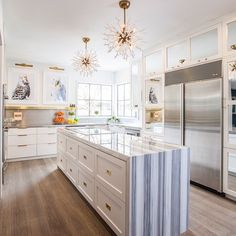 Long Narrow Kitchen Island Bue Striped Marble Waterfall Countertop Great Narrow  Kitchen Island