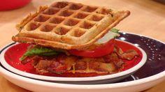 Cheddar-Whole Wheat Waffle BLT Sandwiches #whatsfordinner