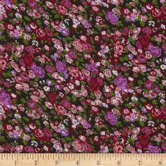 Serenade Rayon Challis Ashly Floral Cherry/Black from fabric.com