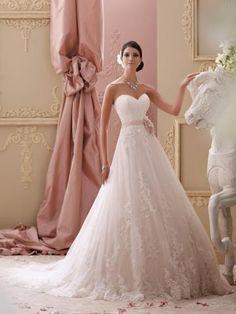 David Tutera Romantische Traumhafte Prinzessin Brautkleider aus Softnetz mit Applikation