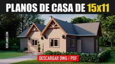 ▶ Descargar Plano de Casa de Campo ¡Gratis! 3 dormitorios ☑️ Shed, Outdoor Structures, Cottage House Plans, Cottage, Yurts, Home, Lean To Shed, Backyard Sheds, Coops