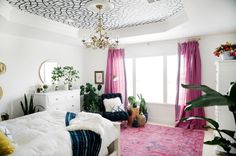 One Room Challenge Boho Chinoiserie Chic Bedroom - Benjamin Moore Simply White   Navy & Pink accents   Persian rug   Velvet Chair   Greenery   Brass Accents