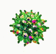 Green Crystal Brooch Cluster Bead pin