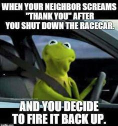 When your neighbor screams 'thank you' after you shut down the racecar and you decide to fire it back up. - gearhead meme because racecar.