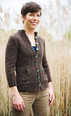 "Beautiful ""Jackaroo cardigan"" from Knitty First Fall 2013.  This could even be worked in Lion Brand's Fishermen's Wool."