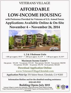 Veterans Village of Glendale - Affordable Housing for Lower Income Households with Preference for Veterans Accepting Applications November 4-26  http://military-civilian.blogspot.com/2014/11/veterans-village-of-glendale-affordable.html