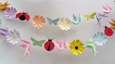 2 strands of 1 meter each paper garland banner flowers by Ladybug 2, Ladybug Nursery, Spring Banner, Handmade Shop, Handmade Gifts, Heaven, Butterfly, Flower Bird, Baby Shower