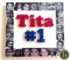 Cuadro para día de las madres, regalo para abuelita, https://www.facebook.com/LaHileria #lahileria #hileria #stringart #hilorama #vinil #hilo #mom #grandmom #super mom #abuelita #dia madre #mothers day #decoracion #casa #home #gift #original #decoration #pictures #photo #fotos #nietos #tita #1 #collage #photos