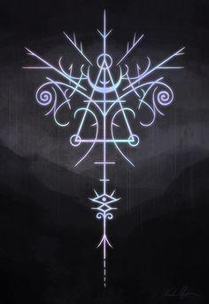 "A sigil that means, ""I am inspired and motivated"" The Mystic Mire Magic Symbols, Ancient Symbols, Sacred Symbols, Viking Symbols, Egyptian Symbols, Viking Runes, Bild Tattoos, Body Art Tattoos, Magic Circle"