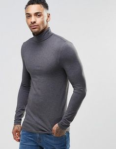 ASOS Extreme Muscle Long Sleeve T-Shirt With Roll Neck In Charcoal £12.00 @