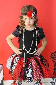 Fabric Scraps Tutu Skirt Black and White and Red Queen of Hearts Chic Pirate Tutu, Fancy Dress, Dress Up, Rag Skirt, Fabric Tutu, Girls Dresses, Tutu Dresses, Baby Tutu, Couture