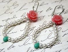 Hey, I found this really awesome Etsy listing at https://www.etsy.com/listing/249827267/pearls-pink-roses-and-mint-hoop-earrings