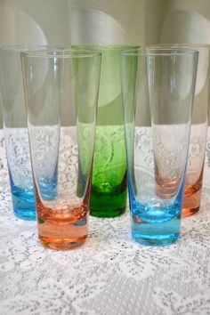 """Lot of 5 Brightly Coloured Pilsner Glasses in Turquoise Blue, Peach and Green - 7.75"""" h"""
