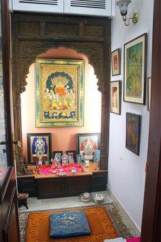Gupta& home brings back the Victorian Era! Pooja Room Door Design, Home Room Design, House Design, Indian Inspired Decor, Temple Room, Temple Design For Home, Indian Home Interior, Puja Room, Indian Homes
