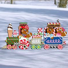 """Gingerbread Train Pattern;  Jump on the Gingerbread Express and be the talk of your neighborhood with this delicious, eye catching design for your yard. Enjoy this weekend project with your family! 44""""H x 96""""W.  Pattern #2020  $14.95       ( crafting, crafts, woodcraft, pattern, woodworking, yard art ) Pattern by Sherwood Creations"""