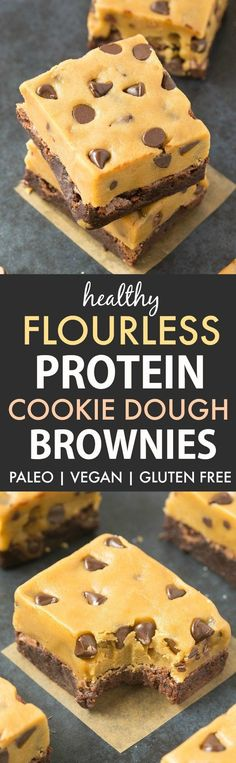 Healthy Protein Cookie Dough Brownies (Paleo, Vegan, Gluten Free)- Delicious flourless protein brownies with a thick, edible eggless cookie dough topping! Protein Cookie Dough, Cookie Dough Frosting, Cookie Dough Brownies, Protein Brownies, Protein Cookies, Keto Cookies, Protein Bars, Protein Muffins, Healthy Cookies