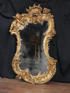 Antique Carved Gilt Mirror Cherub English Rococo