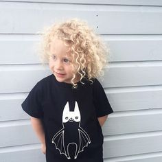 My little niece, Juliette in her new Super Batty tee - she was so excited to get it and look like her cousin Arlo, and how blonde does it make her amazing curls look?? ❤️