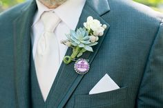 """succulent boutonniere with soda bottle cap pinn inspired by movie """"Up"""""""
