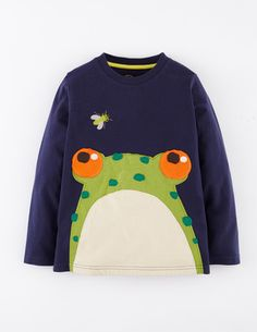 Mini Boden -Big Applique T-shirt in Cadet Blue Frog- boys
