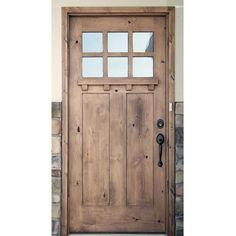Krosswood Doors 42 in. x 96 in. Craftsman 3 Panel 6-Lite Clear Low-E w/Dentil Shelf Left-Hand Unfinished Wood Alder Prehung Front Door-PHED.KA.550DS.36.80.134.LH - The Home Depot