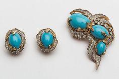Vtg 70s Joseph Mazer brooch & earrings set. by PepaJollyJewels