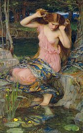 Lamia (second version) by John William Waterhouse, 1909; note the snakeskin on her lap | Wikipedia