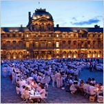 "POP-UP The Dîner en Blanc, or impromptu ""dinner in white,"" in the Cour Carrée at the Louvre in Paris. New York is having its own."