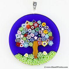 Glassofvenice murano glass millefiori pendant multicolor in large millefiori pendant tree of life in silver frame 36mm mozeypictures Images