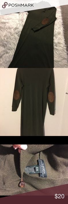 Ralph Lauren hunter green dress Hunter green with brown suede elbow patches and high collar with brown leather loop hook closure. Ralph Lauren Dresses Long Sleeve