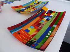 Beautiful rainbow fused glass trays