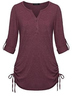 online shopping for FANSIC Womens Casual Long Sleeve Blouse Sleeves Adjustable Drawstring Sides Shirring Henley Shirts from top store. See new offer for FANSIC Womens Casual Long Sleeve Blouse Sleeves Adjustable Drawstring Sides Shirring Henley Shirts Fashion Wear, Fashion Outfits, Fashion 2017, Tunics With Leggings, Henley Shirts, Women's Henley, Long Sleeve Tunic, Latest Fashion For Women, Fashion Women