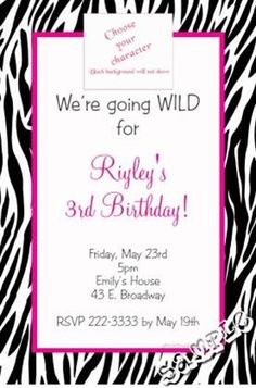 Zebra Animal Print Birthday Invitations - CHOOSE YOUR COLOR SCHEME AND ANIMAL PRINT  -  Get these invitations RIGHT NOW. Design yourself online, download and print IMMEDIATELY! Or choose my printing services. No software download is required. Free to try!