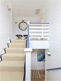 Nautical style staircase in a coastal home