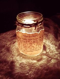 Antique Book Page Mason Jar Candle Holder-Wedding Decoration, Gifts, Home Decor found on etsy. Seller: She's Crafty Y'all