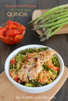 Roasted Red Pepper and Asparagus Quinoa with Grilled Chicken