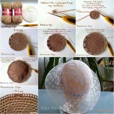 DIY crochet lacey olga summer hat tutorial, instruction.  Follow us: http://on.fb.me/1rWIbQo