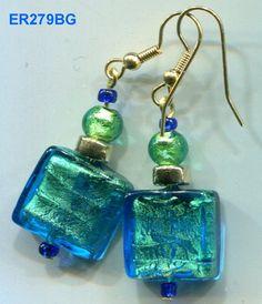 ER279 Dynamic Venetian Murano Art Glass Sterling Crystal Earrings, 5 Styles to Choose