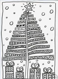Zentangle Christmas Tree & Presents Doodle Christmas Doodles, Christmas Drawing, Christmas Coloring Pages, Noel Christmas, Christmas Crafts For Kids, Christmas Activities, Xmas Crafts, Christmas Printables, Christmas Colors