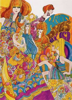 Psychedelic fashion illustration for Knit Dyes by Ici, 1960s.