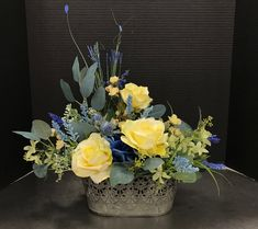 Yellow Roses and a Little Blue by Andrea